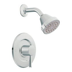 "Moen - Moen T2702 Chrome Posi-Temp Shower Valve Trim, 1-Function Balancing Cartridge - Moen T2702 is part of the LEVEL bath collection. Moen T2702 is a new bathroom decor style by Moen. Moen T2702 has a Chrome finish. Moen T2702 Posi-Temp Shower valve only trim fits any MPact common valve system or MPact Posi-Temp 1/2"" valve available separately. Moen T2702 is part of the Level bath collection. The Level collection stands apart with its clean, geometric lines and sleek modern designs refining style that transcends seamlessly into the modern homes. Moen T2702 Shower valve trim includes single-function pressure balancing Cartridge. Back to back capability. Moen T2702 is a single handle shower valve trim only, the handle adjusts temperature. Moen T2702 Shower valve only single handle trim provides for ease of operation. Moen T2702 Posi-Temp pressure balancing valve maintains water pressure and controls temperature. Moen T2702 includes single function showerhead 2.5 GPM max, arm and flange. Moen T2702 is ADA approved. Chrome is a proven finish from Moen and provides style and durability. Moen T2702 metal lever handle meets all requirements ofADA ASME A112.18.1/CSA B-125.1, ICC A117.1. Lifetime Limited Warranty."