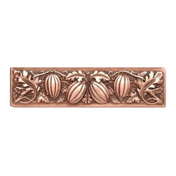 """Inviting Home - Autumn Squash Pull (antique copper) - Hand-cast Autumn Squash Pull in antique copper finish; 4-7/8""""W x 1-1/4""""H; Product Specification: Made in the USA. Fine-art foundry hand-pours and hand finished hardware knobs and pulls using Old World methods. Lifetime guaranteed against flaws in craftsmanship. Exceptional clarity of details and depth of relief. All knobs and pulls are hand cast from solid fine pewter or solid bronze. The term antique refers to special methods of treating metal so there is contrast between relief and recessed areas. Knobs and Pulls are lacquered to protect the finish. Alternate finishes are available."""