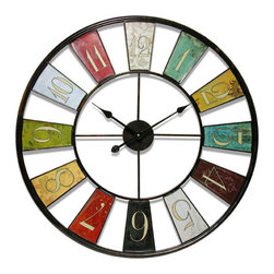 Infinity Instruments - Kaleidoscope Wall Clock - This impressive 24 diameter iron wall clock features black antique hands and a quartz movement. The colorful panels at each hour will go with a variety of decors.  - Clock case is iron with a iron dial.  - Uses one AA battery.  - One year manufacturers? warranty. See individual box for details. Infinity Instruments - 14024-24