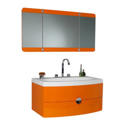 "Fresca - Energia Modern Bathroom Vanity w Mirror (Cascata Chrome) - Choose Included Faucet: Cascata Chrome59 P-trap, Faucet, Pop-Up Drain and Installation Hardware Included. Single Hole Faucet Mount (This model has been updated from the widespread faucet mount to a single hole mount.. With overflow. Sink Color: White. Finish: Orange. Sink Dimensions: 30 in. x13.5 in. x4 in. . Mirror: 47.25 in. W x 23.63 in. H. Materials: Reinforced Acrylic Composite. Vanity: 36 in. W x 20.38 in. D x 18 in. HThis vanity can fit anywhere. At 36"", this vanity is ideal for adding some brightness or funk to your bathroom with its bright orange color. Ingenious basin design is brought together with a large, tri-hinged mirror- a great addition to catch those hard-to-see spots for that perfect shave or see all angles before putting down that mascara for a night out on the town. That mascara and shaver rest in a clever, handsome, and chic storage solution underneath. An ensemble that is sure to be a delight in function and in sleek design that really shines through in its simplicity from hardware to design."