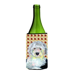 Caroline's Treasures - Old English Sheepdog Fall Leaves Portrait Wine Bottle Koozie Hugger - Old English Sheepdog Fall Leaves Portrait Wine Bottle Koozie Hugger Fits 750 ml. wine or other beverage bottles. Fits 24 oz. cans or pint bottles. Great collapsible koozie for large cans of beer, Energy Drinks or large Iced Tea beverages. Great to keep track of your beverage and add a bit of flair to a gathering. Wash the hugger in your washing machine. Design will not come off.