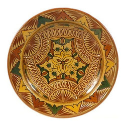 "Ceramic (Wood-fired) - Amber Carved Decorative Plate, 11"" - Amber Carved 11"" Decorative Plate"