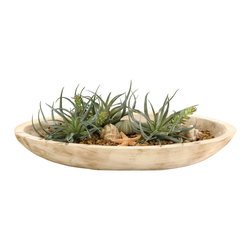 """D&W Silks - Artificial Tilandsia and Flocked Burro Tails in Oblong Wooden Bowl - It's amazing how much adding a plant can change the look of a room or decor, but it can be difficult if your space is not conducive to growing plants, or if you weren't exactly born with a """"green thumb."""" Invite the beauty of nature into your home without all the upkeep with this maintenance-free, allergy-free arrangement of artificial tilandsia and flocked burro tails in an oblong wooden bowl. This is not a living plant."""