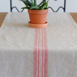 """Origin Crafts - Maison natural/red linen table runners - Maison Natural/Red Linen Table Runners 100% linen. We have a wide collection of 100% linen table runners to suit your decor style, ranging from solid to jacquard,casual to luxurious and contemporary to French country chic. They can be placed along the table or across it, depending on the look that you want to achieve. Beautiful hemstitched edges highlight the sophistication of a linen runner and make it an attractive element in any interior. Dimensions (in): 17"""" x 67"""" 17"""" x 108"""" By Linen Way - Linen Way is a family-owned wholesale business that sells the finest home textiles, handpicked from around the world. Linen Way offers inspirational products for your life and home in traditional and modern designs. Estimated Delivery Time 1-2 Weeks. Please be aware that some products are handmade and unique therefore there may be slight variations in each individual product."""