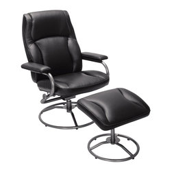 Serta by True Innovations - Serta Recliner and Ottoman in Puresoft Black Faux Leather - Serta by True Innovations - Recliners - CR43674 - About This Product: