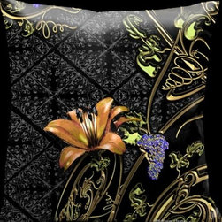 Lama Kasso - Como Gardens Black with Gold Vines Green Leaves and Orange Accents 18 x 18 Satin - -Satin Lama Kasso - 109