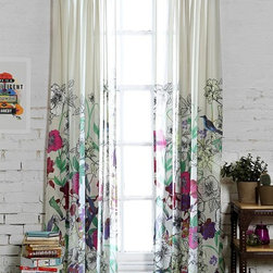 Plum & Bow Forest Critter Curtain - The design on these colorful modern curtains is as pretty as a painting. The artistic, organic design would look lovely in a room with clean lines.