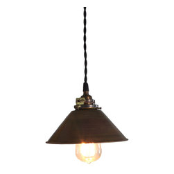 brass pendant light with cloth cord and edision bulb -