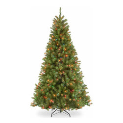 7 1/2 Ft. North Valley Spruce Christmas Tree with 550 Multi Lights-UL - Measures 7.5 feet tall with 52 inch diameter. Pre-lit with 550 UL listed, pre-strung multicolor lights. Tip count: 1346. All metal hinged construction (branches are attached to center pole sections). Comes in three sections for quick and easy set-up. Includes sturdy folding metal tree stand. Light string features BULB-LOCK to keep bulbs from falling out. Tree remains lit even if a bulb burns out. Fire-resistant and non-allergenic. Includes spare bulbs and fuses. 5-year tree warranty / 2-year lights warranty. Packed in reusable storage carton. Assembly instructions included.