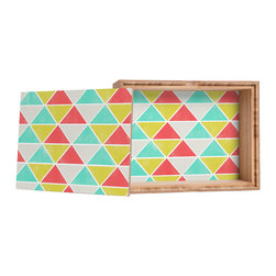 DENY Designs - Allyson Johnson Summer Triangles Storage Box - Love yourself a knickknack or two (or three)? Well, then this is the box for you! The Amber Bamboo wooden Storage Box is available in two sizes with a printed exterior lid and interior bottom. So, you can still be a collector of sorts, but now you've got an organized home for it all. 100% sustainable, eco-friendly flat grain amber bamboo wood box with printed glossy exterior lid and interior bottom. Custom made in the USA for every order.