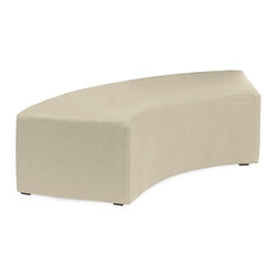 Howard Elliott - Sterling Sand Universal Radius Bench - Create sleek, modern seating arrangements for bars, lobbies or restaurants with our Radius Bench. It features a dramatic arced shape. Place 2 or more together for a dramatic seating display. Take your seating arrangement a step further by pairing it up with the coordinating InCurve and round Ottoman!