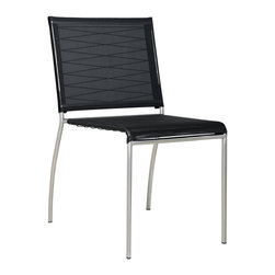 Mamagreen - Mamagreen Natun Black Stacking Side Chair - The Natun Black Stacking Side Chair stylish stainless steel 304 frame combined with handwoven weather resistant synthetic fibers. The mesh sling and angled back make for a comfortable sit.