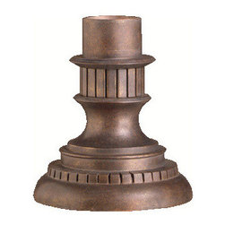 Kichler Outdoor Fixture - Legacy Bronze Exterior - Outdoor Fixture. Kichler completes your home's outdoor lighting with an extensive collection of pedestal mount adaptors guaranteed to match any of Kichler's fine outdoor fixtures. These adaptors allow you to add lighting to a wall or fence with a professional finish. This legacy bronze finished pedestal mount adapter is made from cast aluminum, is 8 in diameter with a 9 height and hardware is included
