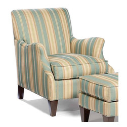 Tight Back Lounge Chair - Stripes in upholstery have always been a big fave of mine.  I love the beautiful colors in this comfy chair.  This chair would look great paired with a cream upholstered sofa or even a brown leather sofa.