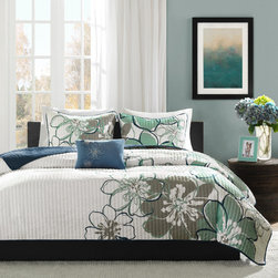 None - MiZone Skylar 4-piece Quilt Set - Renovate your decor with this twin quilt set. With its contemporary floral design, this four-piece quilt set will bring a touch of updated charm to any bedroom. The microfiber blend construction of this set ensures comfort and durability.