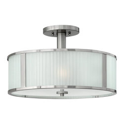 Hinkley Lighting - Midtown Semi Flush Mount - Clean lines and contemporary styling will create a modern fresh ambience. Comes in Brushed Nickel Finish with Multi-Faceted Etched Glass.Measures: 18 in. Dia. x 11 1/4 in. H . Requires 3-100w Medium Based Bulbs.