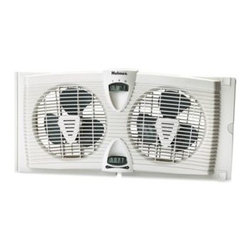 Holmes - Holmes Dual Blade Twin Window Fan wtih Thermostat - This cost effective solution to traditional air conditioner window units creates a comfortable room by drawing in cool air from outdoors or exhausting stale indoor air.