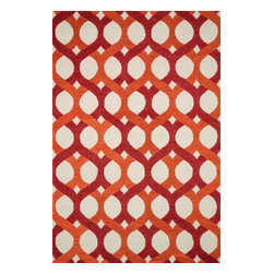 "Loloi - Contemporary Weston 2'3""x3'9"" Rectangle Red-Orange Area Rug - The Weston area rug Collection offers an affordable assortment of Contemporary stylings. Weston features a blend of natural Red-Orange color. Handmade of Wool the Weston Collection is an intriguing compliment to any decor."