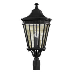 Murray Feiss - Murray Feiss Cotswold Lane Transitional Outdoor Post Lantern Light X-KB8045LO - Traditional style, including a classic lantern shape with a clean tapered look, draws the eye in on this Murray Feiss outdoor post lantern light. From the Cotswold Lane Collection, it features three candelabra style lights and clear beveled glass panels for a subtle modern touch. A clean but stylish Black finish completes the look.