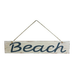 Handcrafted Nautical Decor - Wooden Rustic Beach Sign 14'' - Our   Wooden Rustic Beach Sign 14'' is the perfect choice to display   your affinity for decorating a beach house. Whether placing this sign in a beach house, using it as a coastal decorating idea, or hanging it up as part of   your beach bedroom decor, one thing is for   certain: you are sure to inject the beach lifestyle into your humble   abode.------    Easily mountable to hang outside or inside--    Solid wood--    Handcrafted and highly detailed--
