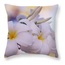 White Snow Frangipani Flowers - Bring more art into your home with unique decor ideas of the throw pillows