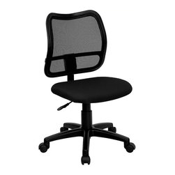 Flash Furniture - Flash Furniture Mid Back Mesh Task Chair with Black Fabric Seat - Flash Furniture - Office Chairs - WLA277BKGG - If you're in need of a comfortable chair with a breathable mesh back this is the chair. The modern design of the back will add a contemporary look to your office space. This chair is height adjustable to adapt to your working environment. [WL-A277-BK-GG]