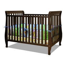 """AFG Baby Furniture - Naomi Convertible Crib with Toddler Rail Espresso - Accented by graceful curves on the legs, the Naomi 4-in-1 Convertible Crib brings unique style combining different elements for safety and ease of use. Made of pine solid hardwood with a non toxic finish, the Naomi crib has stationary sides for added safety in addition to wide, thick slats for extra sturdiness. Features 3-level adjustable mattress height support, and conversion to a toddler bed or day bed with the included guardrail, or full-size bed (conversion rails sold separately).; Color: Espresso; Construction: Wood / Metal; Weight: 43 lbs; Dimensions: 57""""L x 29""""W x 38""""H"""