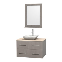 """Wyndham Collection - Centra 36"""" Grey Oak Single Vanity, Ivory Marble Top, White Carrera Marble Sink - Simplicity and elegance combine in the perfect lines of the Centra vanity by the Wyndham Collection. If cutting-edge contemporary design is your style then the Centra vanity is for you - modern, chic and built to last a lifetime. Available with green glass, pure white man-made stone, ivory marble or white carrera marble counters, with stunning vessel or undermount sink(s) and matching mirror(s). Featuring soft close door hinges, drawer glides, and meticulously finished with brushed chrome hardware. The attention to detail on this beautiful vanity is second to none."""