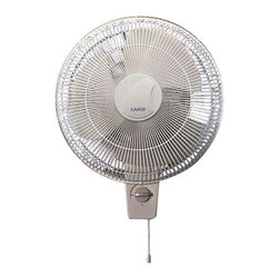 """Lasko Products - Oscillating Wall-mount Fan 16"""" - 16"""" Oscillating Wall-Mount Fan with Three speed whisper-quiet operation.  Widespread oscillation.  Head tilts and locks for directional cooling.  Rotary and pull cord controls.  Durable, quality construction - grills won't rust or corrode.  3-prong grounded plug.  Rear cord wrap.  Easy to assemble and mount.  Fan grills snap together.  Mounting hardware included.  Includes a patented, fused safety plug.  E.T.L. listed.  14.5"""" L x 18"""" W x 20.75"""" H"""