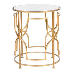 """Worlds Away - Worlds Away Lenora Side Table-Available in Two Different Colors, Gold Leaf - This lovely round side table will be the perfect accent piece in any room.  The table is made with iron and comes in a Gold Leaf or Nickel finish with an antique mirror top.  The table measures 20"""" in diameter X 24""""H."""