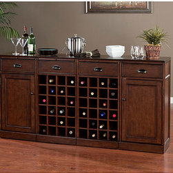 None - Canton 4-piece Modular Bar/ Wine Storage Set - Featuring both style and versatility,this hardwood bar storage set is perfect for either hosting a small party or everyday use. This four-piece wine storage set has organized racks for bottles and has drawers where you can store other bar essentials.