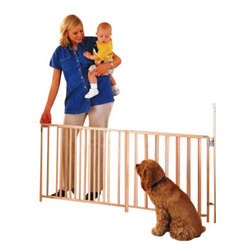 """North States - Extra Wide Opening Swing Gate - The North States Extra Wide Opening Swing Gate offers protection for spaces 60"""" to 103"""" in width and is well priced for value-conscience families. Mounting hardware comes included and uses a 4-point steel mounting hardware kit. A great way to divide wide open spaces, this system includes a gate that swings in both directions for ultimate convenience and can be taken down simply for times it is not needed. Parents enjoy an easy to use, single-handed latching system that defies children to open it. Standing 27 inches tall, this device comes in a wooden finish that can be painted or stained to suit the décor in your home. Quick and easy installation and take down.  Durable wooden construction.  27"""" height with adjustable width of 60"""" to 103"""". Kid-proof and adult friendly. Meets or exceeds JPMA guidelines."""