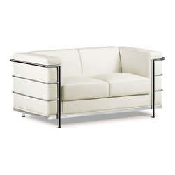 Zuo - Fortress Loveseat, White - The Fortress Loveseat is part of a mid-century classic series.  The chrome steel tubes wrap around the leatherette back and side while the luxurious leather seat invites you to sit and stay a while.  Available in black, white and espresso.