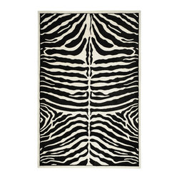 Ottomanson - Black Animal Print Zebra Design Rug - If you can put a tiger in your tank you can put a zebra on your floor. If you like a little wild in your decor, you're going to love this area rug. The price is perfect and the rug is stain-resistant so it's designed for high traffic areas.