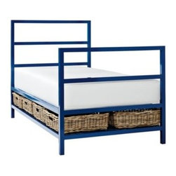 Serena & Lily - Avery Bed Cobalt (Twin) - Taking our cue from the timeless appeal of Parsons-style furniture, we�ve come up with a look that will see the kids through a few years (at least). Stow blankets, toys, clothes, you name it, in the rattan baskets below.