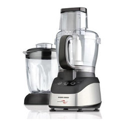 Black & Decker - PowerPro 2-in-1 Food Processor and Blender - Power that gets the job done! From food processing to blending, the 600-watt motor lets you slice, chop, shred, grate, puree and blend all your foods with ease. Do more with the 10-cup capacity work bowl and the 6-cup blending jar as you prepare delicious meals and savory drink. Power that gets the job done! From food processing to blending, the 600-watt motor lets you slice, chop, shred, grate, puree and blend all your foods with ease. Do more with the 10-cup capacity work bowl and the 6-cup blending jar as you prepare delicious meals and savory drink. Features: -Stainless steel slice, shredder disk, and chopping blade.-2 Speeds plus pulse.-Wide mouth feed chute with pusher.-Safety interlock system.-Non-skid suction feet.-Collection: PowerPro.-Distressed: No.Specifications: -10 Cup work bowl and 6 cup blender jar.-Power: 600 Watts.Dimensions: -22.83'' H x 11.26'' W x 9.61'' D, 13.7 lbs.-Overall Product Weight: 13.7lbs.Warranty: -Manufacturer provides 1 year warranty.