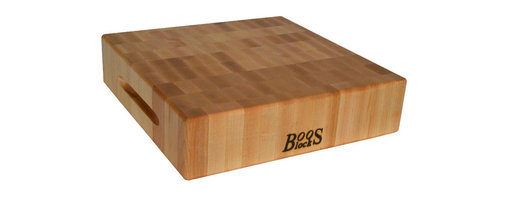 "John Boos - John Boos 3"" Thick Square Maple Chopping Block - Boos end-grain maple chopping block, 3 inches thick. Model CCB. Three sizes to choose from: 12, 15 and 18-inch squares. Convenient indentations for gripping."