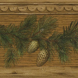 York Wallcoverings - Brown Pine Cone Wood Wallpaper Border - Wallpaper borders bring color, character and detail to a room with exciting new look for your walls - easier and quicker then ever.