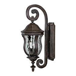 """Savoy House - Monticello Collection 22"""" High Outdoor Wall Light - From Savoy House this distinctive outdoor wall light is part of the Monticello Collection. Bold scrolls mix with graceful contours in this classic design. Light refracts beautifully through clear water glass and a rich walnut patina finish completes this look. A wonderful addition to your exterior. Walnut patina finish. Clear water glass. Takes two 60 watt candelabra bulbs (not included). 8"""" wide. 22"""" high. Extends 9 3/4"""" from the wall.  Walnut patina finish.   Clear water glass.   Takes two 60 watt candelabra bulbs (not included).   8"""" wide.   22"""" high.   Extends 9 3/4"""" from the wall."""