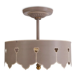 Painted Tole Semi-Flush Ceiling Lights - Beautiful semi-flush hand painted tole ceiling fixtures. Base paint color is a warm gray brown with details in beige, hardware is natural brass. Holds two 60 watt bulbs.
