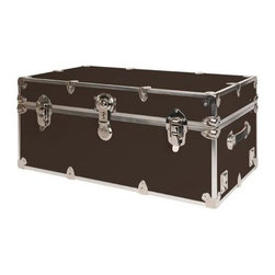 Rhino - Rhino Armor Storage Trunk in Brown (Small) - Choose Size: SmallTwo nickel plated steel universal wheel adapter plates mounted on the side of the trunk. Laminated armor exterior. Strong hand-crafted construction using both old world trunkmaking skills and advanced aviation rivet technology. Steel and aluminum aircraft rivets used to ensure durability. Heavy duty proprietary nickel plated steel hardware. Steel lid hinges and steel lid stay for keeping the lid propped open. Tight fitting steel tongue and groove lid to base closure to keep out moisture, dirt, insects and odors. Stylish lockable nickel plated steel trunk lock. Loop for attaching a padlock. Genuine leather handles. American craftsmanship. Self-sticking adhesive on the back of the name plate. Upper or lower case lettering. Lettering is in black. The name plate can take 24 characters per line. The max number of lines is 2. Warranty: Lifetime warranty includes free non-cosmetic repairs for the life of the trunk. Made from smooth 0.38 in. premium grade baltic birch hardwood plywood. No paper or plastic lining anywhere avoiding peeling or tearing. Name plate made from plastic. No assembly required. Cube: 20 in. W x 18 in. D x 18 in. H (22 lbs.). Small: 30 in. W x 16 in. D x 12.5 in. H (24 lbs.). Medium: 30 in. W x 16 in. D x 16 in. H (26 lbs.). Large: 32 in. W x 18 in. D x 14 in. H (27 lbs.). Extra Large: 34 in. W x 20 in. D x 15 in. H (32 lbs.). Extra Extra Large: 36 in. W x 18 in. D x 18 in. H (36 lbs.). Jumbo: 40 in. W x 22 in. D x 20 in. H (52 lbs.). Super Jumbo: 44 in. W x 24 in. D x 22 in. H (69 lbs.). Name Plate: 3 in. L x 1 in. H (0.5 lbs.)The hand-crafted American Made Rhino Armor Cube is constructed from the highest quality components. Rhino Armor is an exterior 1000d Cordura Nylon textured sheathing that's highly resistant to water penetration, denting and scratching. The Rhino Armor Cube is conveniently sized and ruggedly built. In fact, its strong enough to stand on ! The Rhino Armor Cube is easily stowed and can be securely locked to insure the safety of personal items. The Rhino Armor Cordura sheathing ensures that Rhino Armor Cubes have the most durable exterior available in the trunk industry. Rhinos brushed bright metal finish name plates are a great addition to any Rhino Trunk. Most people put their full name on, but its your choice. You can have your name on one or two lines. You can place the name plate anywhere you like on the Rhino Trunk.