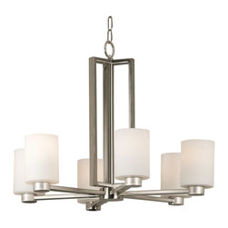 Kenroy Home - Kenroy 10186BS Encounters 6 Light Chandelier - Current and contemporary - words that easily describe the Encounters family.  Cylindrical White Opal glass shades seated on smaller brushed steel cups give Encounters its uniquely sleek look.  The expertly crafted rectangular arms and column complete this effortlessly chic family.