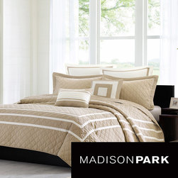 Madison Park - Madison Park Columbia 7-piece Quilted Coverlet Set - You'll love snuggling with this seven-piece quilted coverlet set. This prewashed set is crafted from 100 percent polyester micro-fiber and is filled with cotton. It comes with everything needed for a complete bedroom makeover, right down to the pillows.