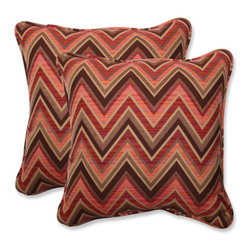 Pillow Perfect - Fischer Brown and Pink Square 18.5-Inch Throw Pillow with Sunbrella Sunset Fabri - - This set of square throw pillows is covered in 100-percent solution dyed acrylic Sunbrella fabric, which provides the perfect balance of worry-free performance and fashion. These Sunbrella pillows will retain their color and strength, even through intense exposure to sun and rain. Resists mildew, rot, chlorine and fading, so you can enjoy these pillows for many seasons to come. These pillows are as soft and luxurious as they are durable. Filled with a plush 100-percent polyester fiber filling, these pillows bring the comfort of indoors, out.  - Pillow Care and Cleaning: Sunbrella fabric should be cleaned regularly. Brush off any loose dirt and wash with a mild soap and lukewarm water solution (less than 100�F/38�C). For stubborn stains and mildew, wash with a solution of 1 cup (236ml) of bleach and 0.25 cup (59ml) of mild soap per gallon (3.8L) of water. Rinse thoroughly to remove soap. Allow fabric to air dry  - Pillows with outdoor 100-percent acrylic Sunbrella fabric - colors stay strong and vibrant  - Worry Free - resists mildew, stains, chlorine and fading; Suitable for indoor or outdoor use  - Set includes two pillows filled with a plush 100-percent polyester fiber  - Easy to clean - use mild soap with lukewarm water, rinse, and air dry. Bleach cleanable for mildew or tougher stains  - 5-Year Fabric Limited Warranty - withstands years of normal exposure to sun and rain  - Made in USA  - Secondary Colors: Sunset Pillow Perfect - 547008