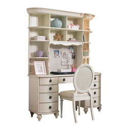 Lea Industries - Lea Emma's Treasures Computer Desk with Hutch in Vintage White - Inviting, casual and comfortable easily describes Emma's Treasures from Lea Furniture. Traditional styling mixed with a cozy time-worn appearance creates a collection of youth furniture sure to please any age girl. The distressed vintage white color finish, antiqued pewter-color hardware, the use of cane and crystal-cut mirrors all help create the shabby chic appeal of this group. Special features include vintage patterned drawer liners and hidden compartments on select pieces. Unique pieces include a vanity with bench, a mirrored door chest and a desk that can double as a larger vanity. Take a look at Emma's Treasures and create a room your Child will treasure for years to come. And, as always, Emma's Treasures comes with the quality you expect from Lea Furniture. Safety is one of the key elements Parents look for when buying products for their Children. As a supplier of Children's furnishings, we are committed to ensuring our products meet or exceed the safety requirements defined by the Consumer Product Safety Commission and the ASTM. design and function combined with safety features makes the Emma's Treasures collection an ideal choice for any Child's room.