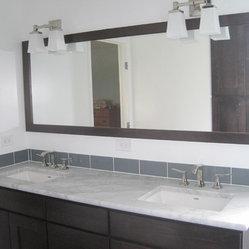 Contemporary Bathroom Remodel - Carrera Marble countertop, glazed white ceramic walls and a ...