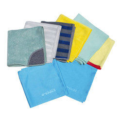 E Cloth Home Cleaning Set - The 8 cloth home cleaning set from E-Cloth - that's a lot of free cleaning when you think that its performance is guaranteed for 300 machine washings. Yes e-cloth microfiber cloths are durable cleaning tools used over-and-over but the most impressive thing about them is how well they clean - just about everything in any place - and do so with just plain water. The cleaning power comes from remarkable fibers with microscopic texturing that attract moisture and oil lift and trap dirt grease grime and bacteria without using any potentially health-harmful chemical cleaners. The thick General Purpose Cloths are for heavy grease and dirt. The thin Glass & Polishing Cloth is for glass light cleaning and final polishing. (Not for use on electronic scressn and delicate lenses.) These versatile cleaning cloths are excellent on stainless steel countertops glass chrome granite marble tile and wood - e-cloth micfober cloth fiber function makes cleaning everyplace faster and easier.