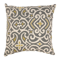 Pillow Perfect - Pillow Perfect Grey/ Greenish-Yellow Damask Throw Pillow - Accentuate your home furnishing with this beautiful decorative pillow from Pillow Perfect. This decorative pillow is made with easily cleaned polyester fabric. Featuring an attractive damask design, this pillow will fit in most homes.
