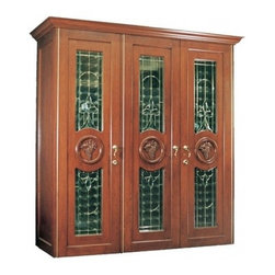 Vinotemp - VINO-900CONB-U 900 Concord Oak Wine Cooler Cabinet with 560-Bottle Capacity  Unf - This beautiful oak wine cabinet with its three beveled decorative glass doors is not only storage and protection for up to 560 bottles of wine its a gorgeous piece of furniture that will enhance any room its placed in An unfinished oak interior prote...