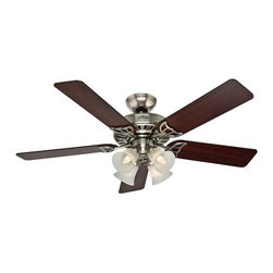 """HUNTER FAN COMPANY - Hunter Studio Series 52 In. Ceiling Fan Light Kit In Brushed Nickel With Cherry/ - Hunter Studio Series 52"""" Ceiling Fan Brushed Nickel, Cherry/Maple Blades